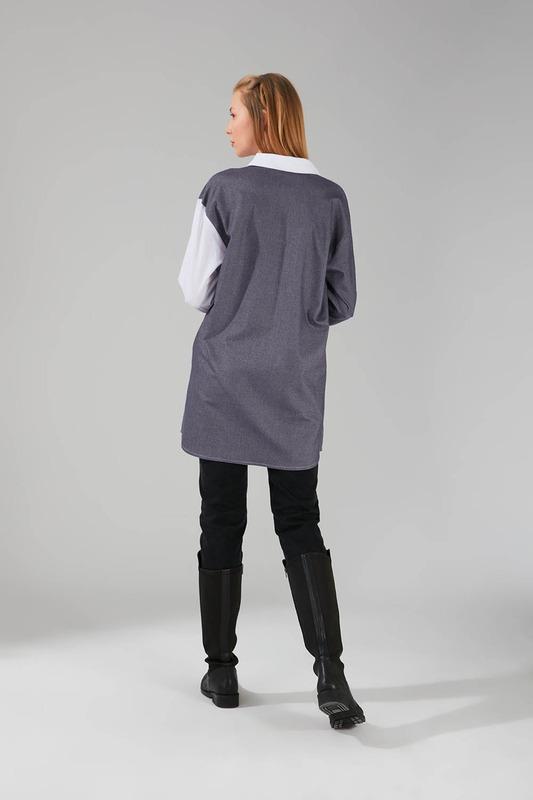 Çok Parçalı Gömlek Tunik (Füme)