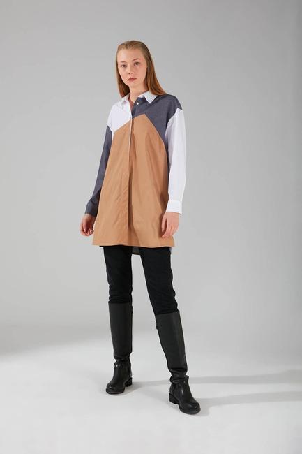 Çok Parçalı Gömlek Tunik (Füme) - Thumbnail