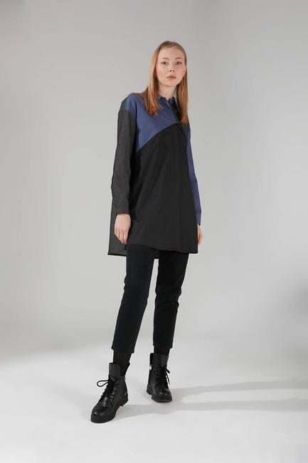 Mizalle - Çok Parçalı Gömlek Tunik (İndigo)