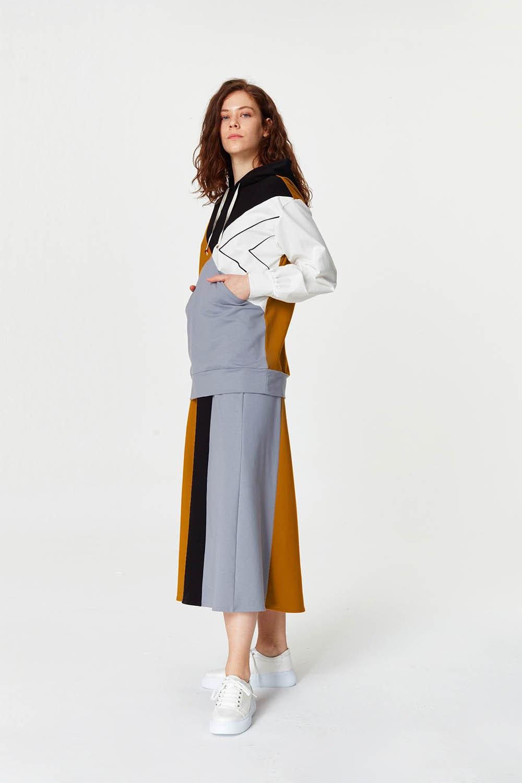 MIZALLE Çok Parçalı Sweatshirt (Gri) (1)
