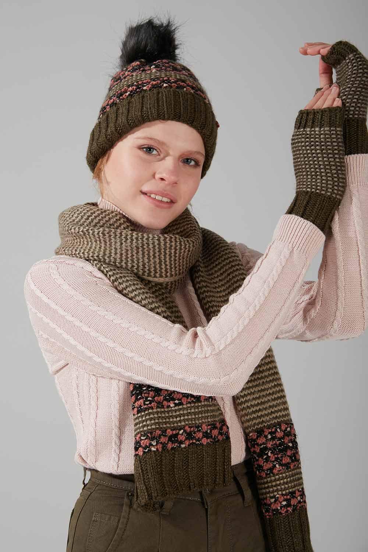 Çok Renkli Şapka Eldiven Bere Takımı (Haki) - Thumbnail