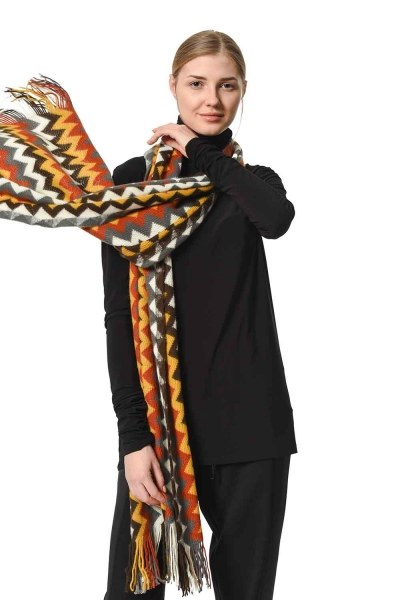 MIZALLE Multi Color Zigzag Patterned Shawl (Multi)