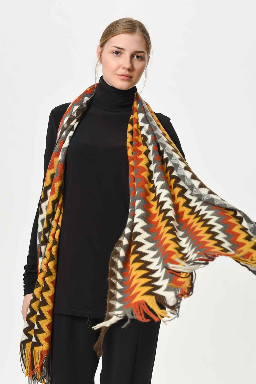 MIZALLE Multi Color Zigzag Patterned Shawl (Multi) (1)