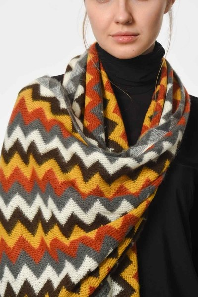Multi Color Zigzag Patterned Shawl (Multi) - Thumbnail