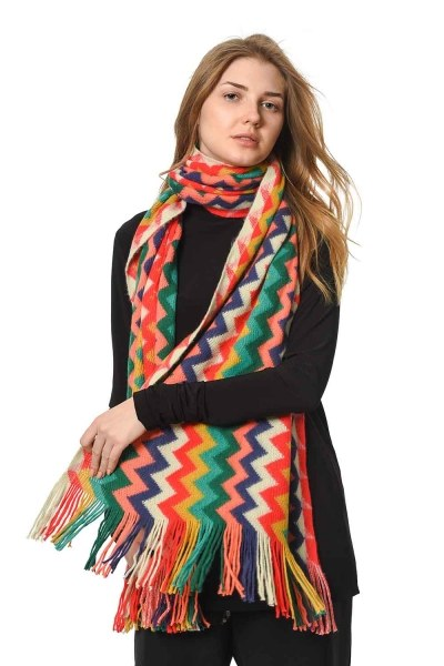 MIZALLE Multi Color Zigzag Patterned Shawl (Mix)