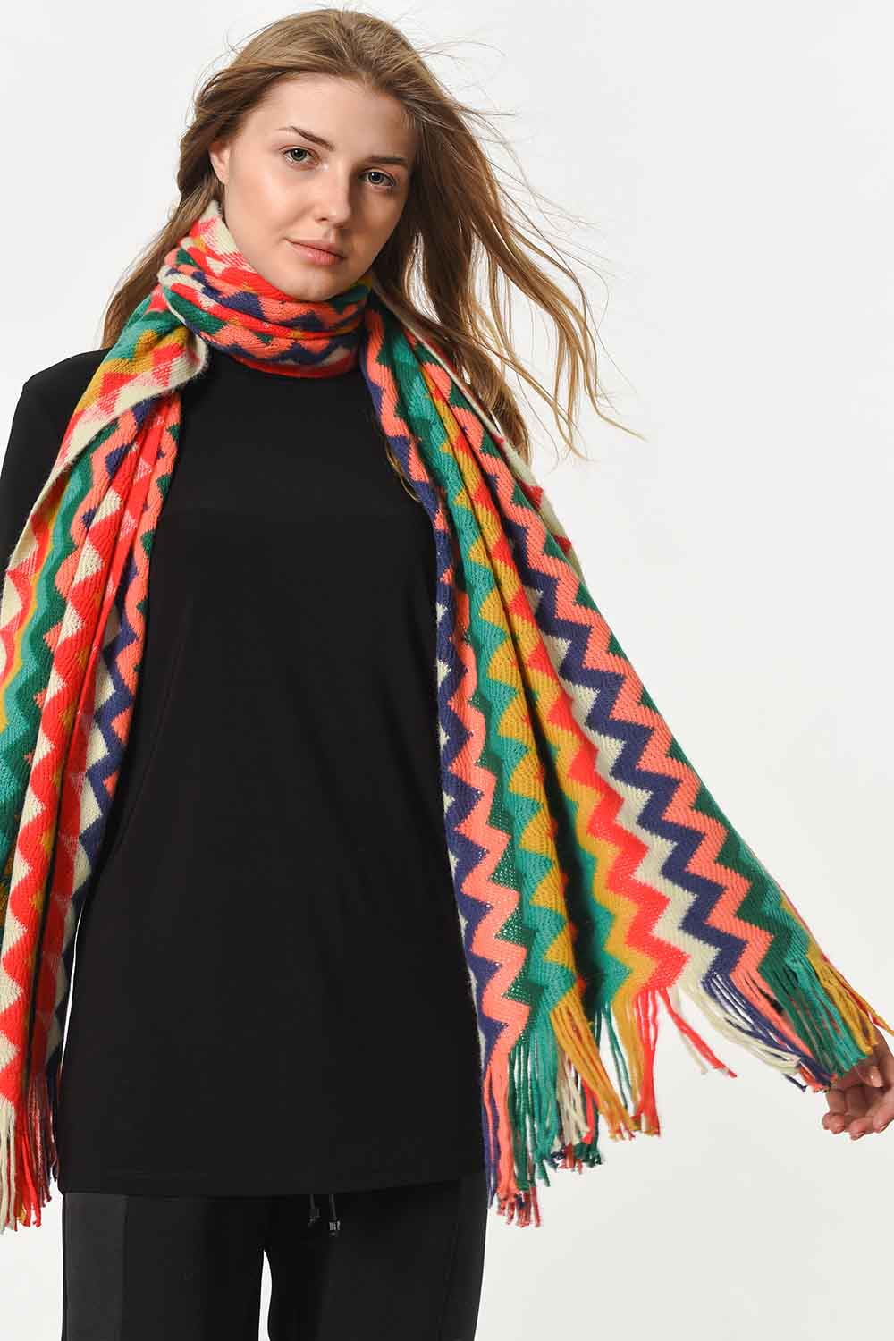 MIZALLE Multi Color Zigzag Patterned Shawl (Mix) (1)