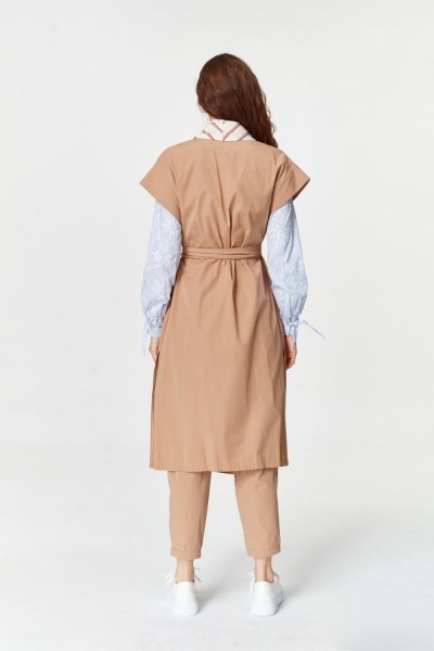 Collar Striped Waistcoat (Camel) - Thumbnail