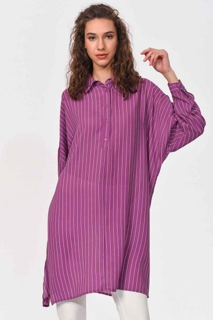 MIZALLE - قميص تونك طويل مخطط (أَرْجُوَانِيّ) (1)