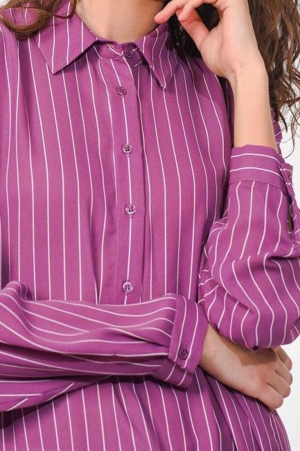 قميص تونك طويل مخطط (أَرْجُوَانِيّ) - Thumbnail