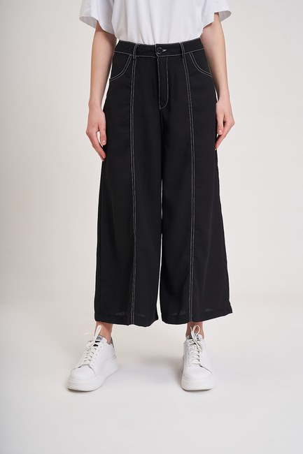 Mizalle Youth - Contrast Stitching Trousers (Black) (1)