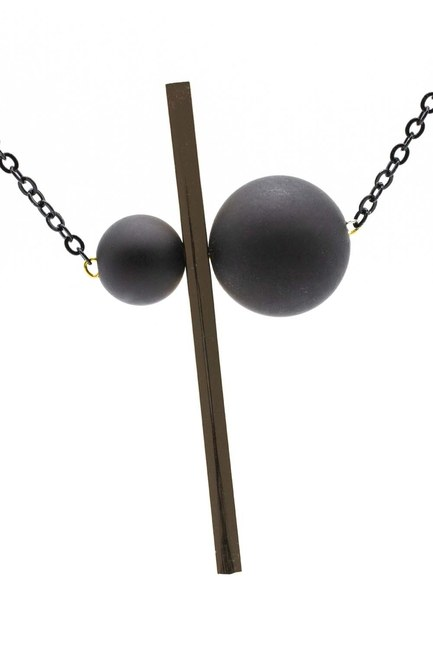 MIZALLE Coupled Metal Beaded Necklace (Yellow)