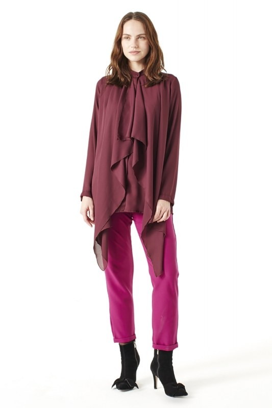 Crepe Volant Blouse (Claret Red)