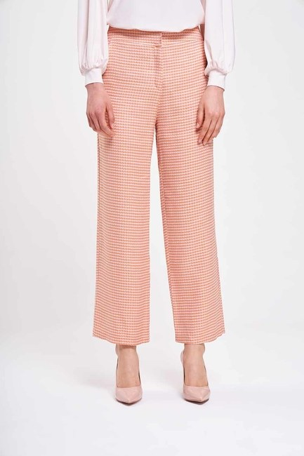 MIZALLE - Crowbar Patterned Trousers (Pink) (1)