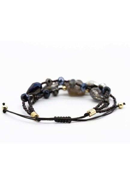 MIZALLE - Crystal Beaded Natural Stone Bracelet (Black) (1)