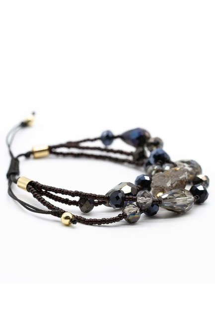 Crystal Beaded Natural Stone Bracelet (Black) - Thumbnail