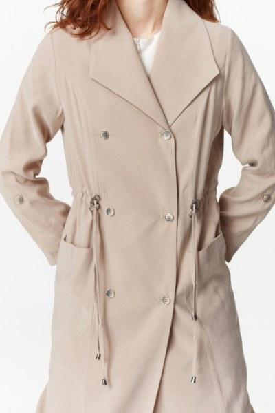 معطف الخندق الفاخرة مصنوعة من لايوسيل (البيج) - Thumbnail