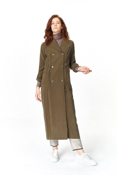 MIZALLE معطف الخندق الفاخرة مصنوعة من لايوسيل (تُرَابِـيّ)