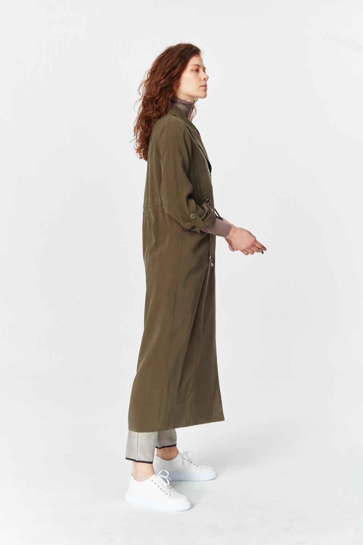 MIZALLE معطف الخندق الفاخرة مصنوعة من لايوسيل (تُرَابِـيّ) (1)