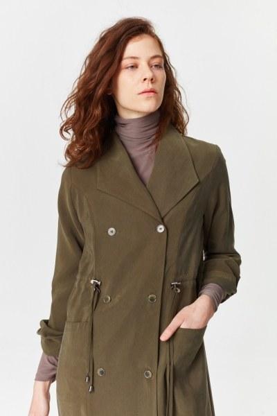 معطف الخندق الفاخرة مصنوعة من لايوسيل (تُرَابِـيّ) - Thumbnail