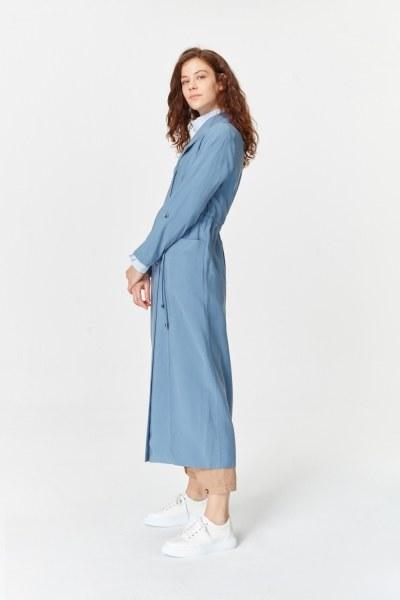 MIZALLE - معطف الخندق الفاخرة مصنوعة من لايوسيل (اللون النيلي) (1)