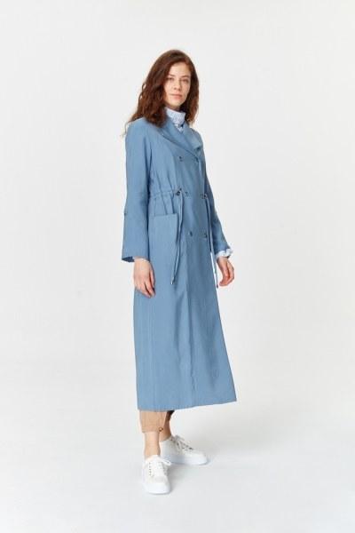 معطف الخندق الفاخرة مصنوعة من لايوسيل (اللون النيلي) - Thumbnail
