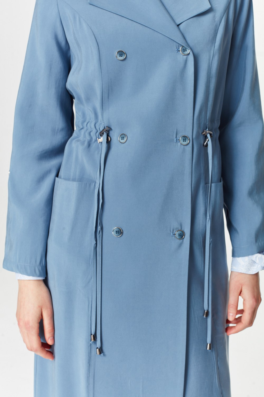 MIZALLE معطف الخندق الفاخرة مصنوعة من لايوسيل (اللون النيلي) (1)