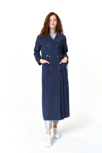 MIZALLE معطف الخندق الفاخرة مصنوعة من لايوسيل (كُحْلِيّ)