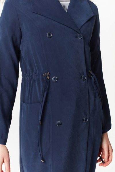 معطف الخندق الفاخرة مصنوعة من لايوسيل (كُحْلِيّ) - Thumbnail