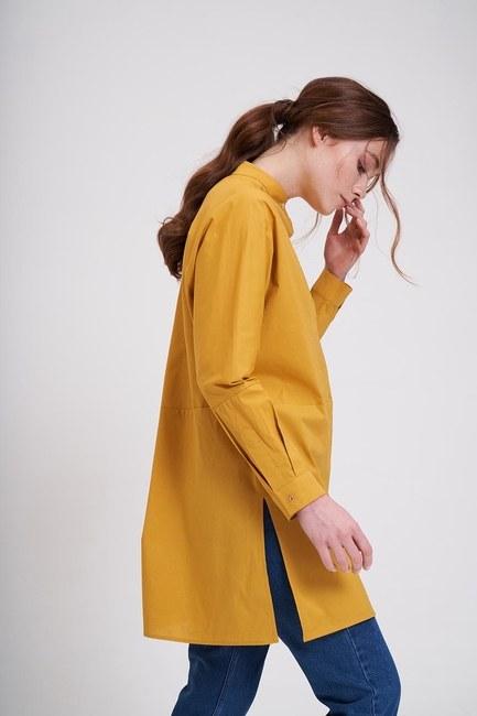MIZALLE - Cut Detailed Judge Collar Tunic (Saffron) (1)