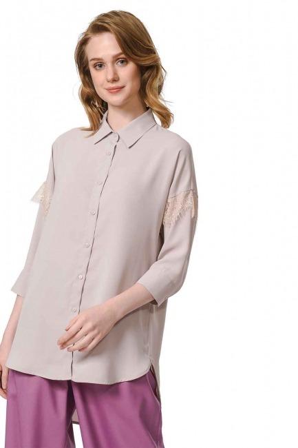 الدانتيل قميص بلوزة مفصلة (البيج) - Thumbnail