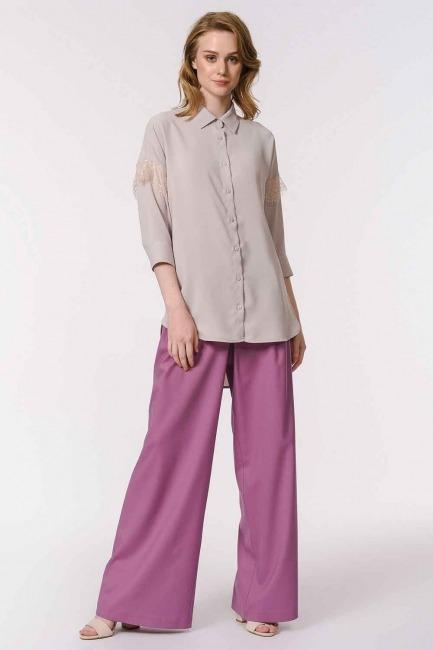 MIZALLE - Dantel Detaylı Gömlek Bluz (Bej) (1)