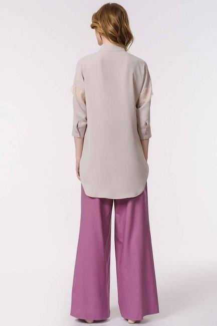Lace Detailed Shirt Blouse (Beige) - Thumbnail