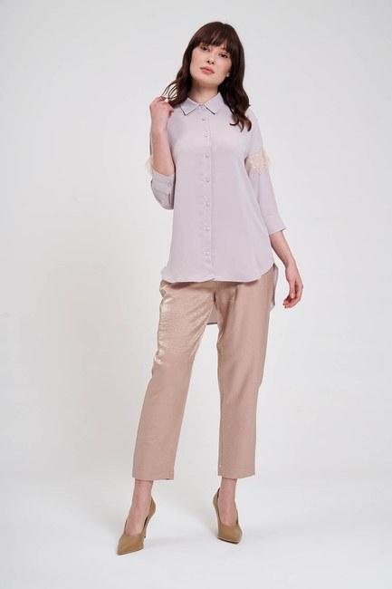 Mizalle - Dantel Detaylı Gömlek Bluz (Bej)