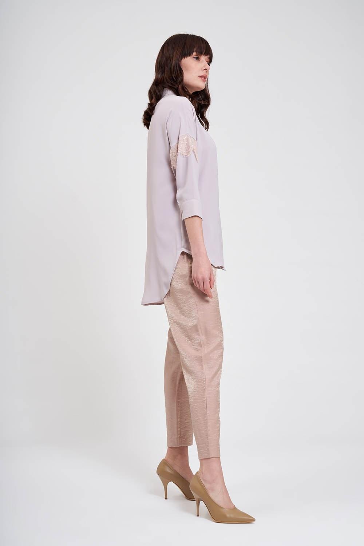 Dantel Detaylı Gömlek Bluz (Bej)