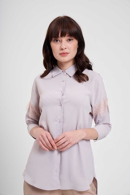 Dantel Detaylı Gömlek Bluz (Bej) - Thumbnail
