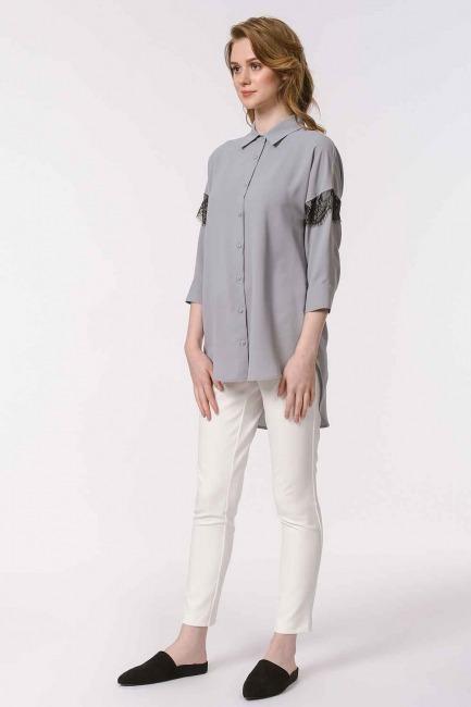 الدانتيل قميص بلوزة مفصلة (الرمادي) - Thumbnail