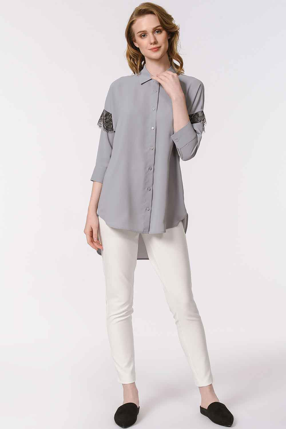 MIZALLE Lace Detailed Shirt Blouse (Grey) (1)