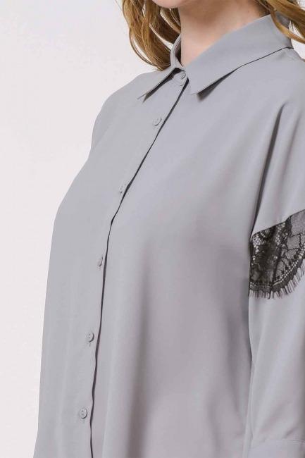 Lace Detailed Shirt Blouse (Grey) - Thumbnail