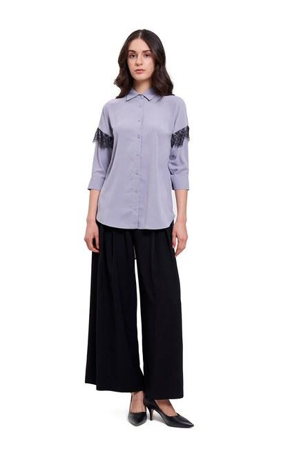 Dantel Detaylı Gömlek Bluz (Gri) - Thumbnail