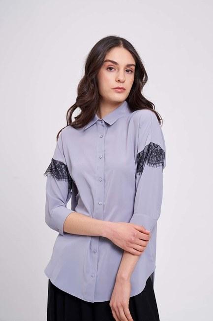 Mizalle - Dantel Detaylı Gömlek Bluz (Gri)