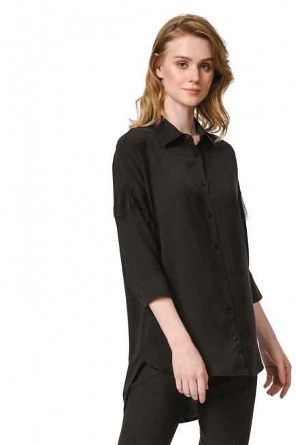 MIZALLE الدانتيل قميص بلوزة مفصلة (أسود)