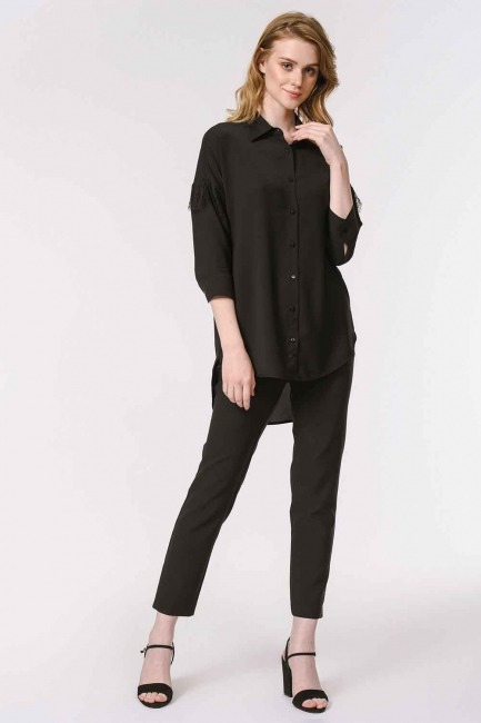 MIZALLE - الدانتيل قميص بلوزة مفصلة (أسود) (1)