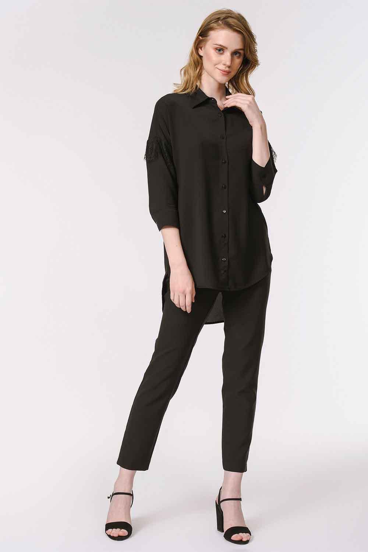 MIZALLE Dantel Detaylı Gömlek Bluz (Siyah) (1)