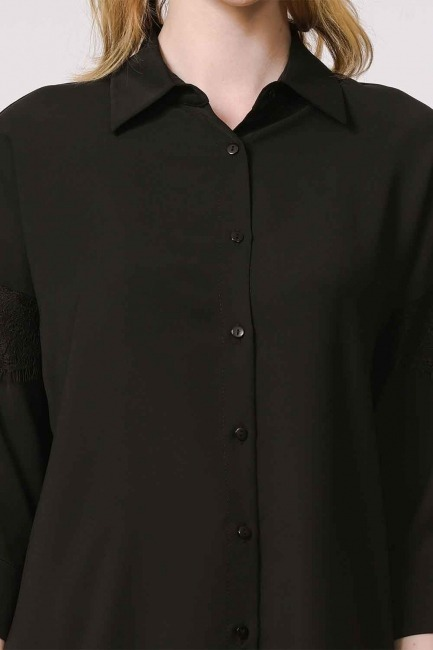 Lace Detailed Shirt Blouse (Black) - Thumbnail