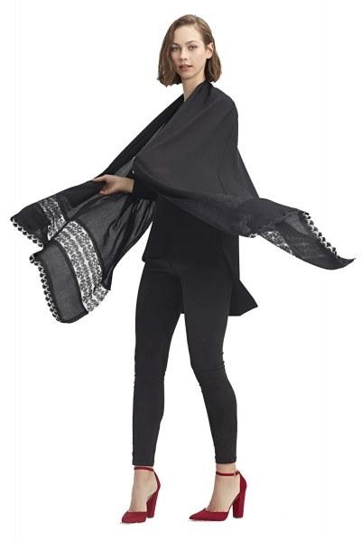 MIZALLE Dantel Detaylı Şal (Siyah)