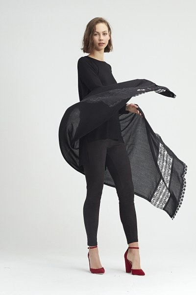 MIZALLE - Lace Detailed Shawl (Black) (1)