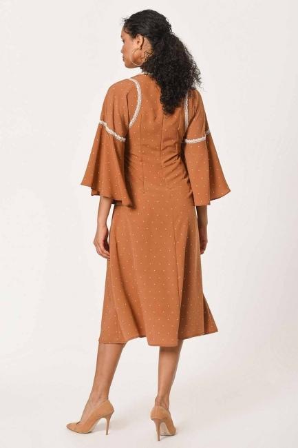 Dantel Garnili Puantiye Elbise (Sütlü Kahve) - Thumbnail
