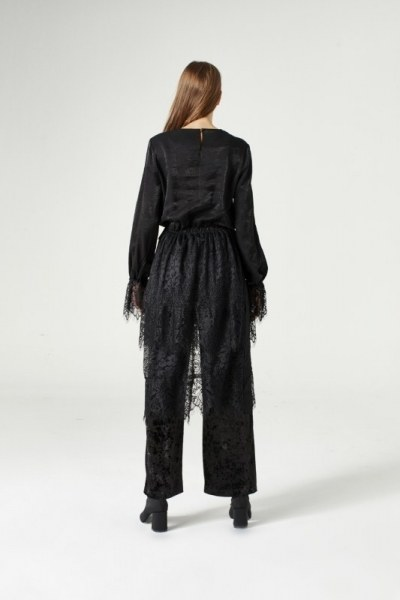Garni-Lacing Dress (Black) - Thumbnail