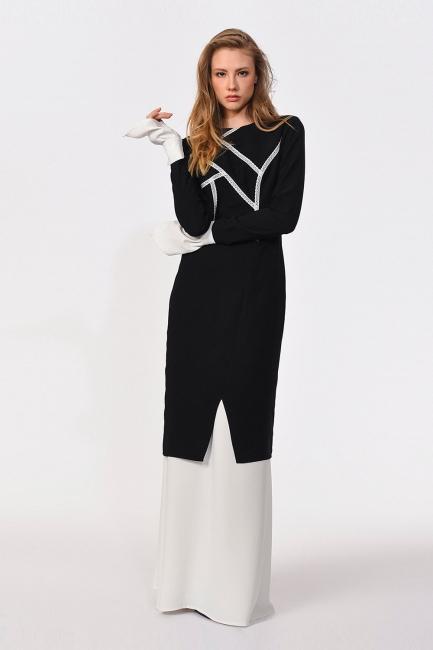 Mizalle - Dantel Garnili Siyah Uzun Elbise