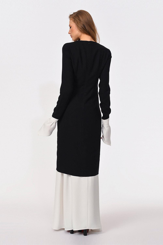 Dantel Garnili Siyah Uzun Elbise